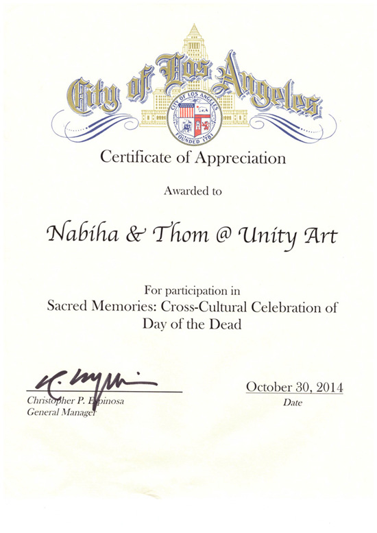 City of Los Angeles Certificate of Appreciation